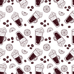 Seamless pattern with cup of coffee and some elements. Vector background.