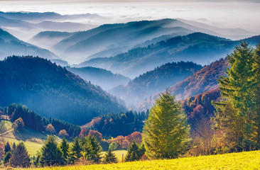 Scenic mountain landscape. View on the Black Forest in Germany, covered in fog. Colorful travel background.