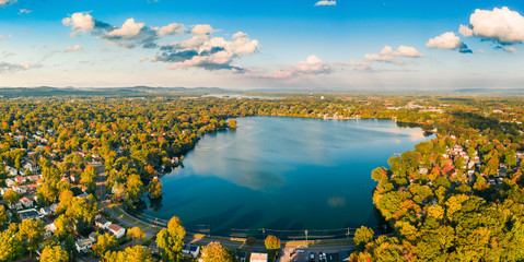 Aerial panorama of Lake Parsippany, in New Jersey, on an sunny autumn afternoon