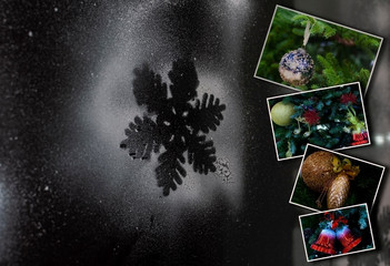 Winter photo collage on a dark glass background. New Year Christmas Holidays. With copy space. Partially blur background