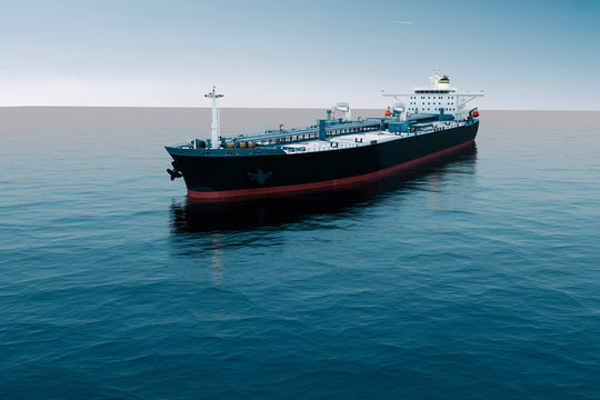 3d aerial view of oil tanker ship on sea