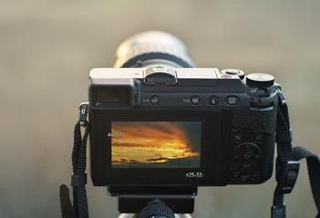Camera shooting at sunset.