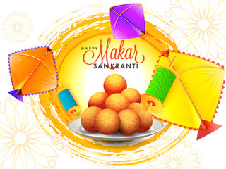 Happy makar Sankranti greeting card design with illustration of Indian dessert, colorful kites and spool.