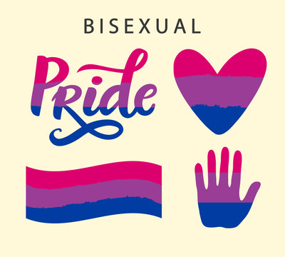 Bisexual pride symbols. LGBT rights concept