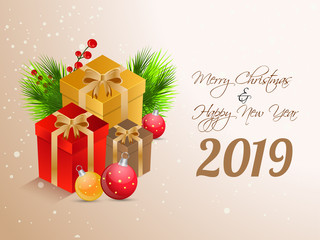 Happy New Year 2019 greeting card design with gift boxes and baubles illustration on glossy background for Merry Christmas festival celebration.