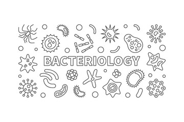 Bacteriology line banner. Vector bacteria illustration