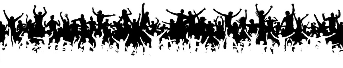 Crowd of fun people on party, holiday. Cheerful people having fun celebrating. Sporting event. Panorama of jubilant youth. Applause people hands up. Silhouette Vector Illustration