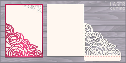 Die laser cut wedding card vector template. Invitation pocket envelope with lace corner with roses pattern. Wedding lace invitation mockup.