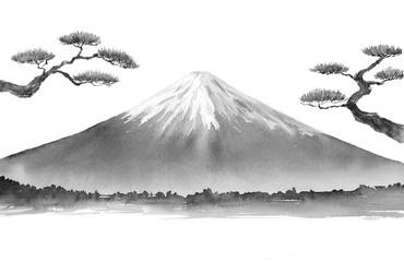 松の木と富士山 水墨画 墨絵 Fototapete