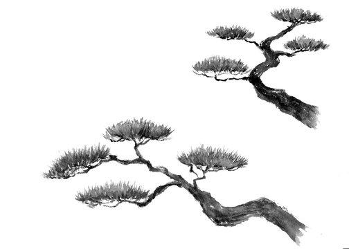 松の木 水墨画 墨絵