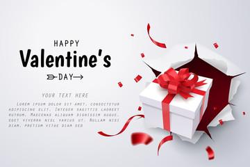 Gift box break thru paper wall, Valentine's day celebrate
