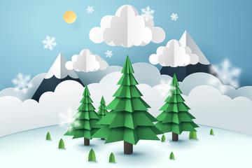 Paper art of tree and winter season