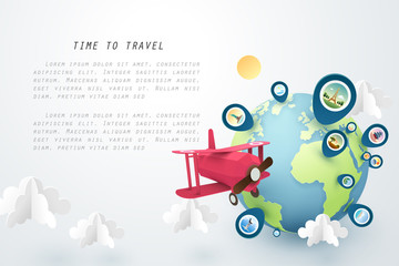 Time to travel, Paper art of red airplane fly around the world and pinned landmarks