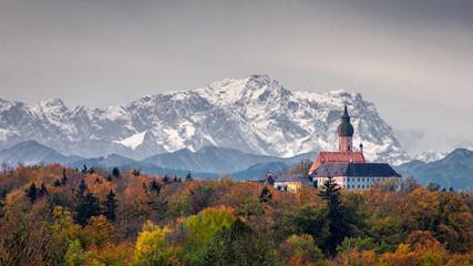 Türaufkleber Dunkelbraun Monastery in the alps