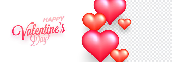 Happy Valentine Day poster or banner design decorated with glossy hearts on white background with space for your product image.