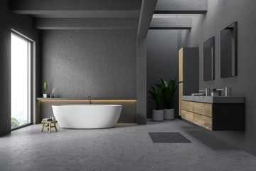 Gray bathroom interior, tub and sink