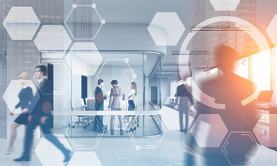 Business people in office, hexagons