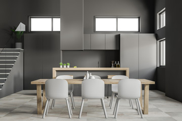 Gray kitchen and dining room close up