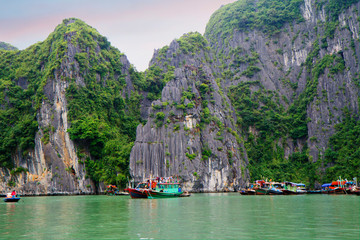 Halong, Vietnam, Rocks. Halong Bay is located in the Gulf of Tonkin just 180 kilometers from Hanoi. UNESCO world heritage site in Vietnam.