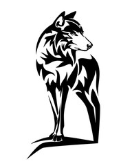 wild wolf standing on rock black and white vector outline design