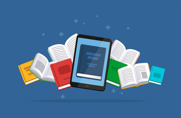 Modern ebook concept. Tablet with the flying books on the background. E-books, internet courses and graduation process. Vector illustration in flat style.
