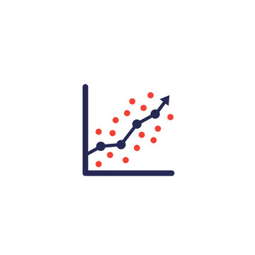 regression analysis icon with graph