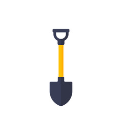 Shovel on white, vector icon in flat style