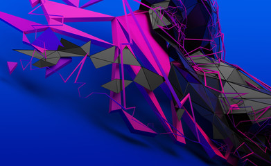Abstract 3d rendering of random geometric shapes. Futuristic modern background design for poster, cover, banner, placard