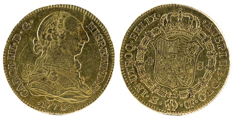 Ancient Spanish gold coin of King Carlos III. With a value of 4 escudos and minted in Sevilla. 1773.