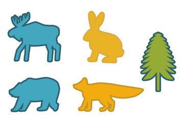 coloring siluettes forest animals