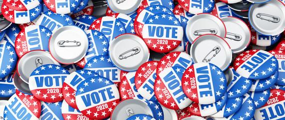 vote 2020  election badge background, vote USA 2020, 3D illustration, 3D rendering