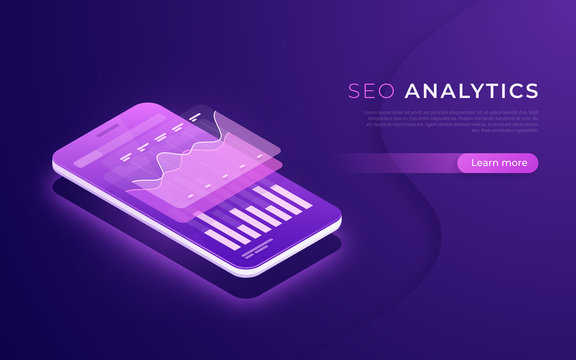 SEO analytics, data analysis, digital marketing strategy isometric concept