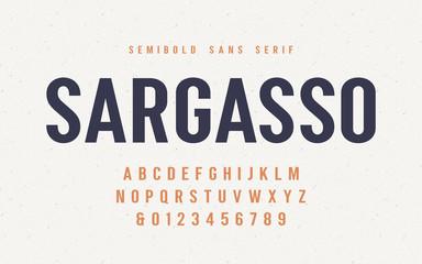 Sargasso semibold san serif vector font, alphabet, typeface