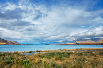 turquoise lake Pukaki in New Zealand
