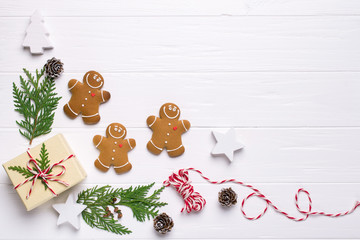Christmas frame with gingerbread cookies, Christmas tree, pine cones, toys. Copy space for text. winter holidays. Christmas mock-up
