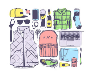 Hand drawn Fashion Illustration Snowboarding Things. Creative ink art work. Actual cozy vector drawing with Rider's Items. Winter Sport set: wear, shoes, accessories, food, drinks, things