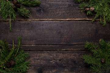 Winter background with wooden table and Christmas tree