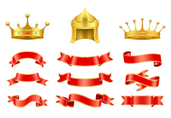 Gold crown with jewel, helmet and red ribbons set
