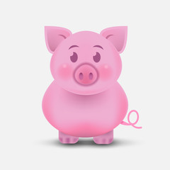 The Fat Little Pig. Chinese New Year. The year of the pig. icon isolated on white background. Vector illustration.
