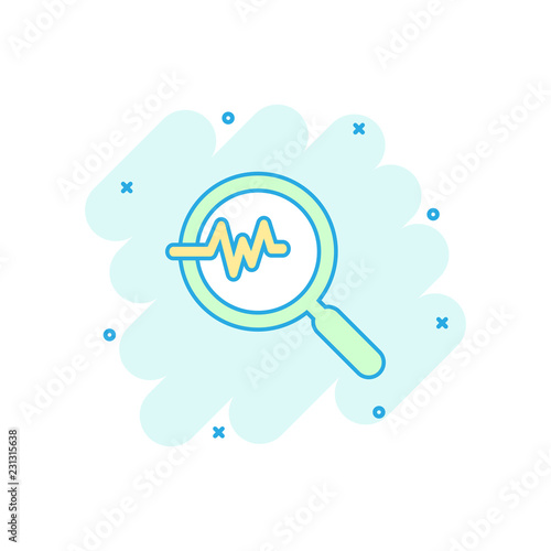 Vector cartoon magnifying glass icon in comic style  Loupe