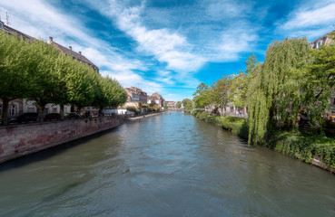 Strasbourg, the main River of the City, green Park in Strasbourg, France