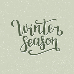 Winter season hand written inscription with isolated on green background with snowflakes.  illustration. Lettering. Postcard for winter season advertising.