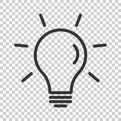 Light bulb icon in flat style. Lightbulb vector illustration on isolated background. Lamp idea business concept.