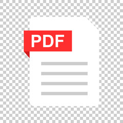 Pdf document note icon in flat style. Paper sheet vector illustration on isolated background. Pdf notepad document business concept.