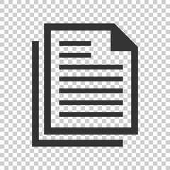 Document note icon in flat style. Paper sheet vector illustration on isolated background. Notepad document business concept.