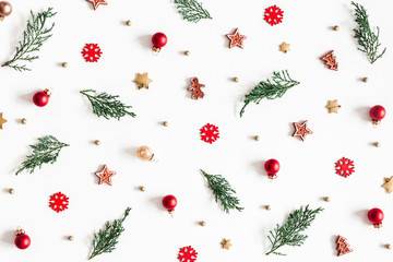 Christmas composition. Fir tree branches, decorations on white background. Christmas, winter, new year concept. Flat lay, top view