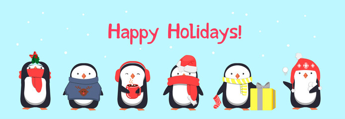 Happy Holidays greeting card with penguins. Vector illustration
