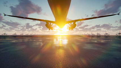 Plane takes off at sunrise or sunset background in slow motion. 3D Rendering Wall mural