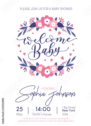 Welcome Baby Cute Card Invitation With Lettering And Footprints