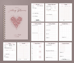 Wedding planner printable design with checklists, important date, notes etc. Vector illustration